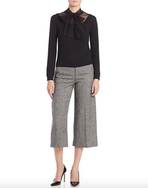 RED Valentino Wide Tweed Cropped Pants