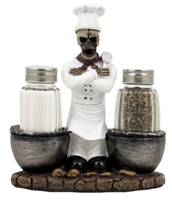 Skeleton Chef Salt and Pepper Shakers