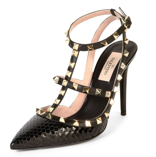 Valentino Rockstud Ayers Snakeskin Sandal 2