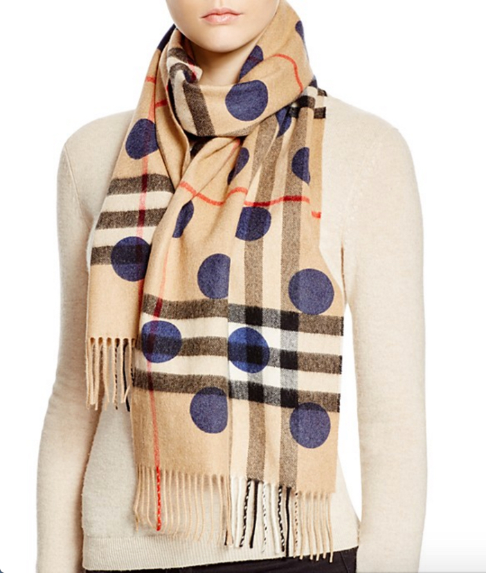 Burberry Dot Print Giant Check Cashmere Scarf