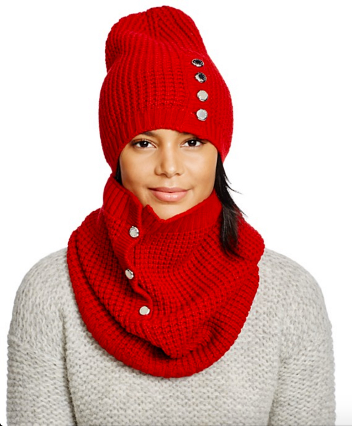 Michael Kors Waffle Stitch Slouchy Hat, Neckwarmer & Gloves