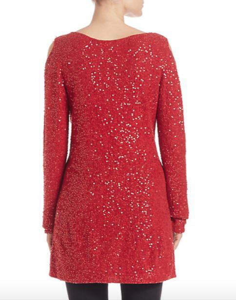 Donna Karan Sequin Cold-Shoulder Sweater 3