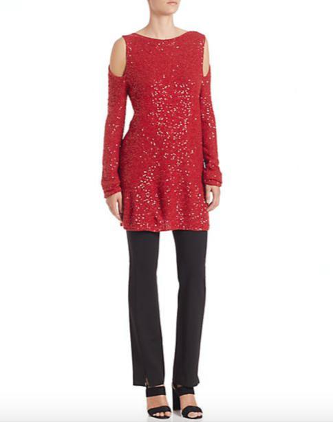 Donna Karan Sequin Cold-Shoulder Sweater 4