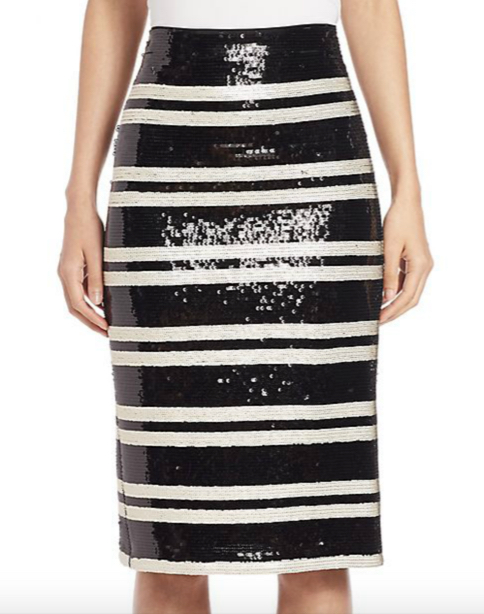Alice and Olivia Rue Embellished Striped Pencil Skirt 2