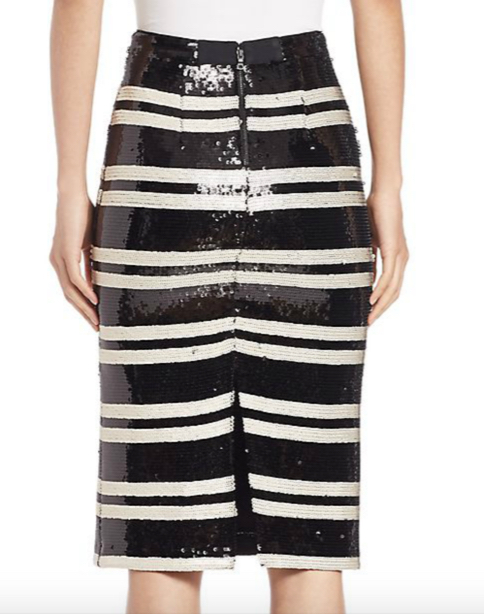 Alice and Olivia Rue Embellished Striped Pencil Skirt 3