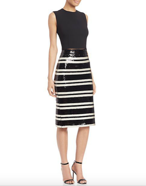 Alice and Olivia Rue Embellished Striped Pencil Skirt