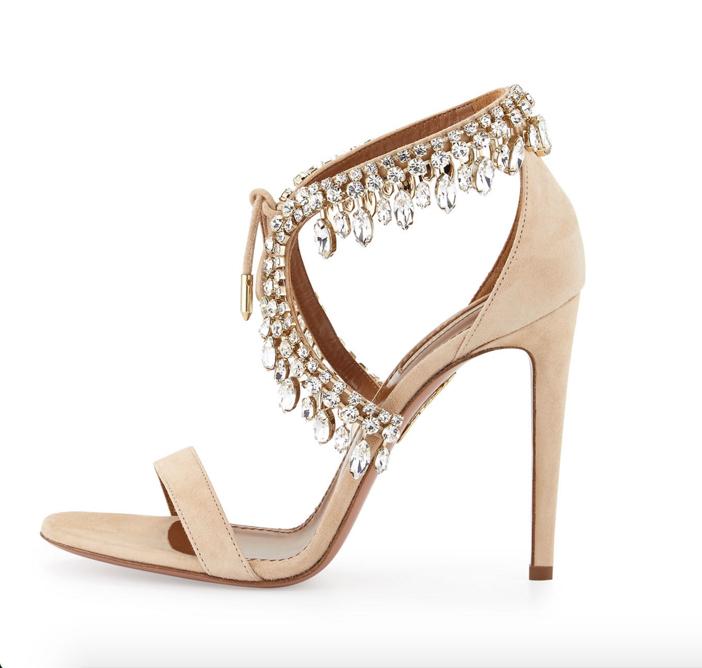 Aquazzura Milla Jeweled Suede Sandal 2