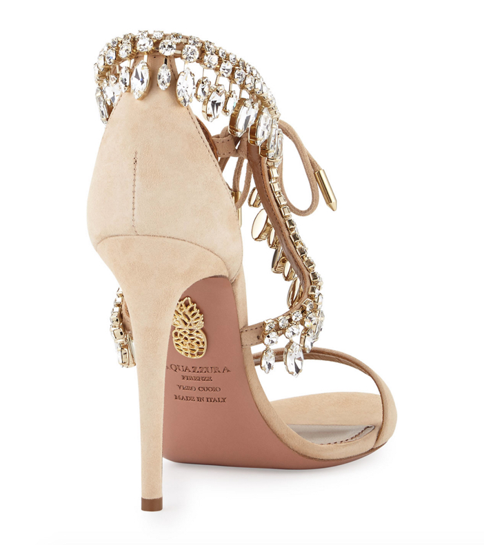 Aquazzura Milla Jeweled Suede Sandal 3