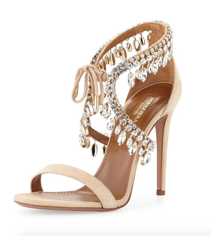 Aquazzura Milla Jeweled Suede Sandal