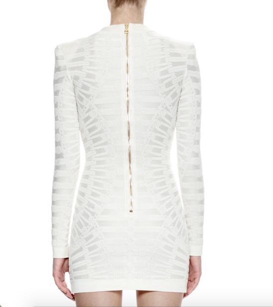 Balmain Long-Sleeve Lace-Up Sheath Dress 2