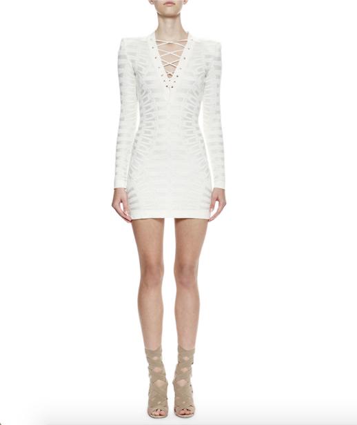 Balmain Long-Sleeve Lace-Up Sheath Dress