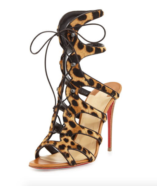 Christian Louboutin Amazoulo Caged Calf-Hair Red Sole Sandal