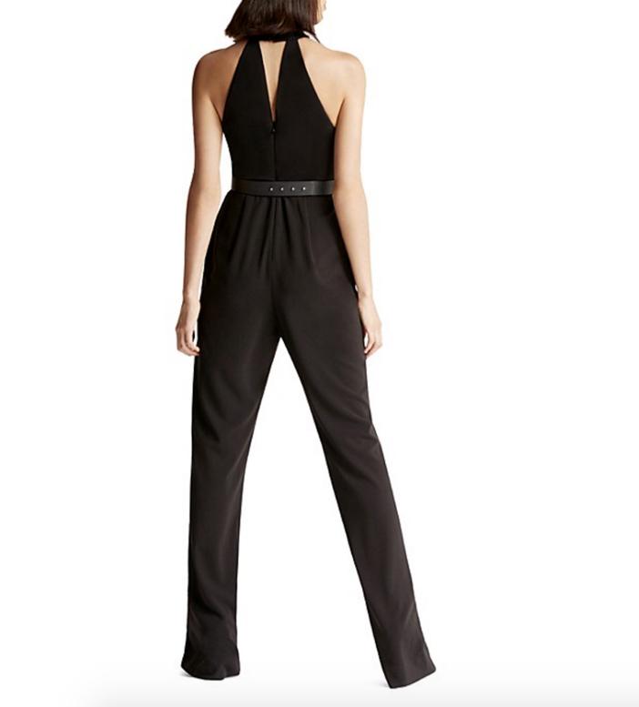 HALSTON HERITAGE Embellished Collar Crepe Jumpsuit 2