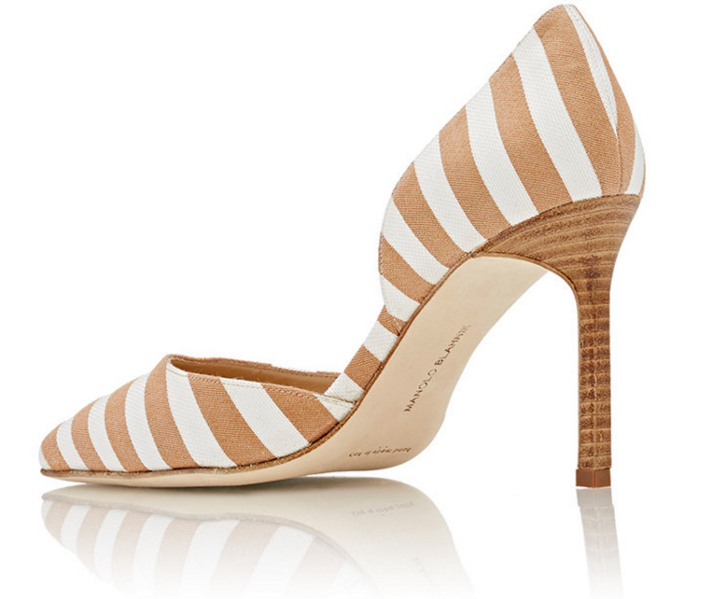MANOLO BLAHNIK Striped Tayler D'Orsay Pumps 2