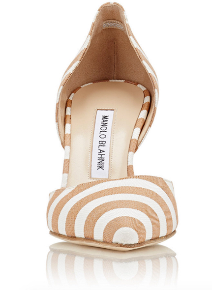 MANOLO BLAHNIK Striped Tayler D'Orsay Pumps 3