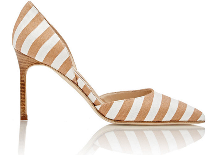 MANOLO BLAHNIK Striped Tayler D'Orsay Pumps 4