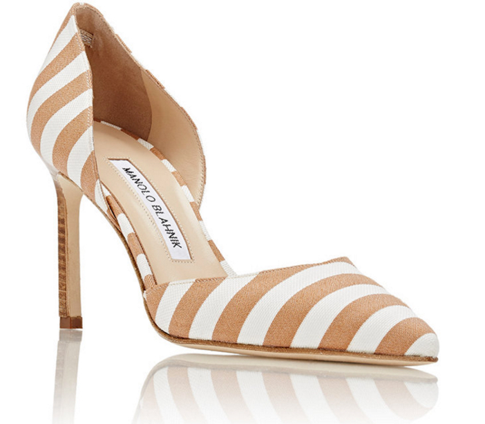 MANOLO BLAHNIK Striped Tayler D'Orsay Pumps