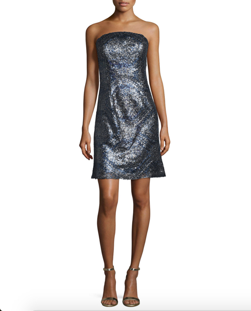 ML Monique Lhuillier Strapless Embellished Cocktail Dress