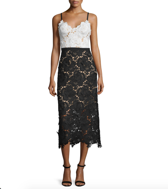 Catherine Deane Sleeveless Sweetheart Lace Midi Cocktail Dress