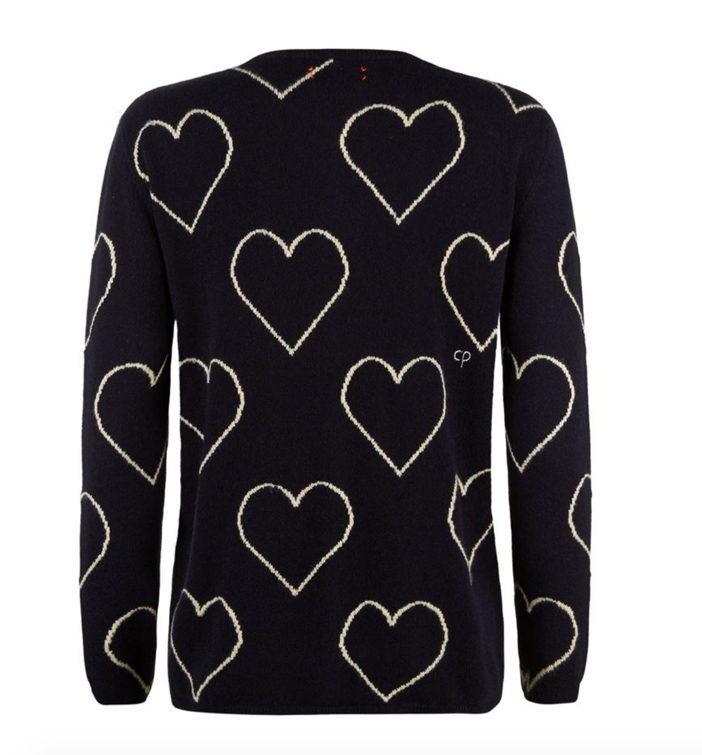 Chinti & Parker All-Over Glitter Heart Cashmere Sweater 2