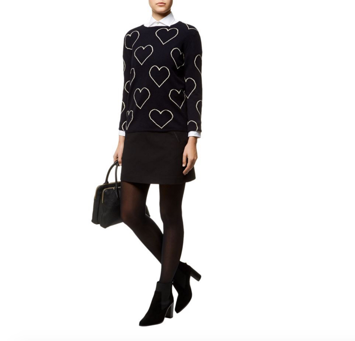 Chinti & Parker All-Over Glitter Heart Cashmere Sweater 3