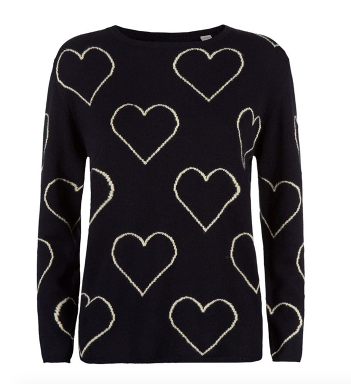 Chinti & Parker All-Over Glitter Heart Cashmere Sweater