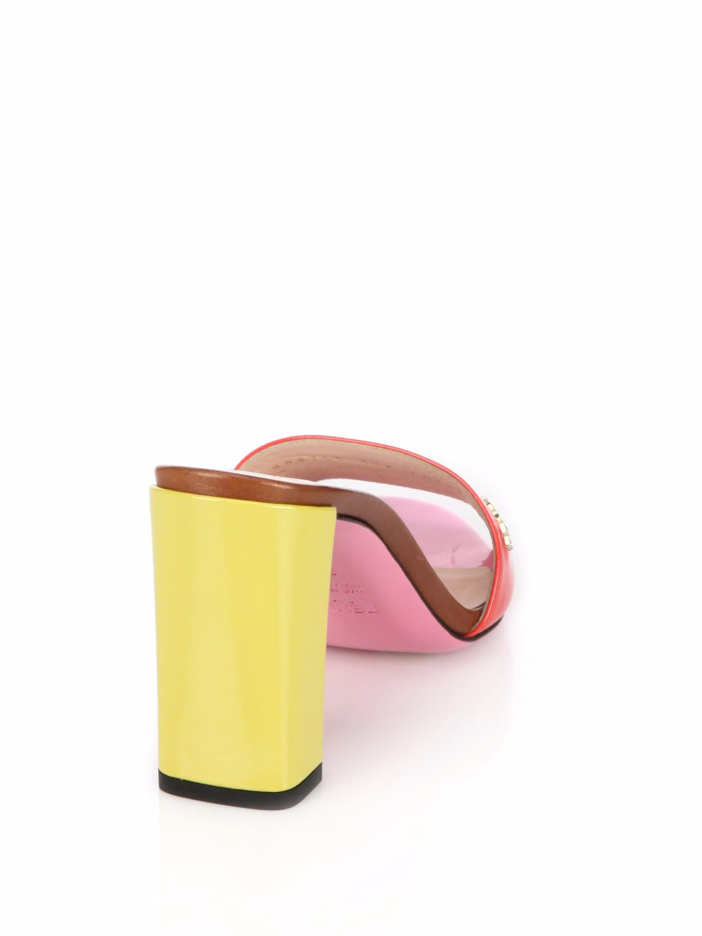 Fendi Palette Patent Leather Slide Sandals 4