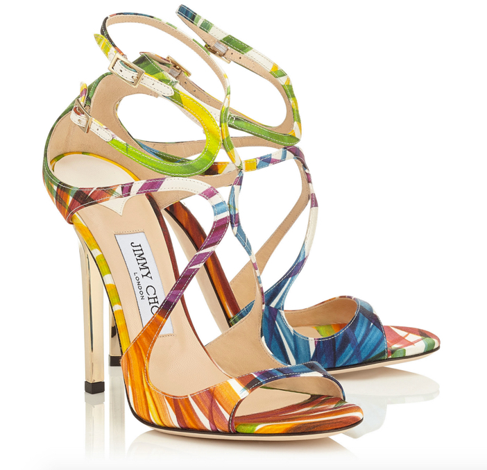 Jimmy Choo Lance Palm Print Satin Strappy Sandals 3