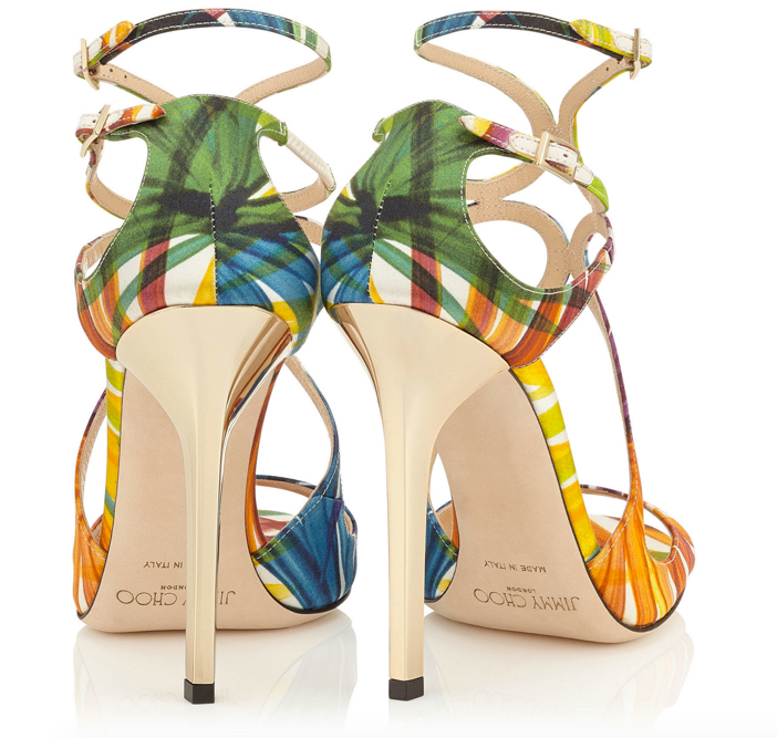 Jimmy Choo Lance Palm Print Satin Strappy Sandals 4