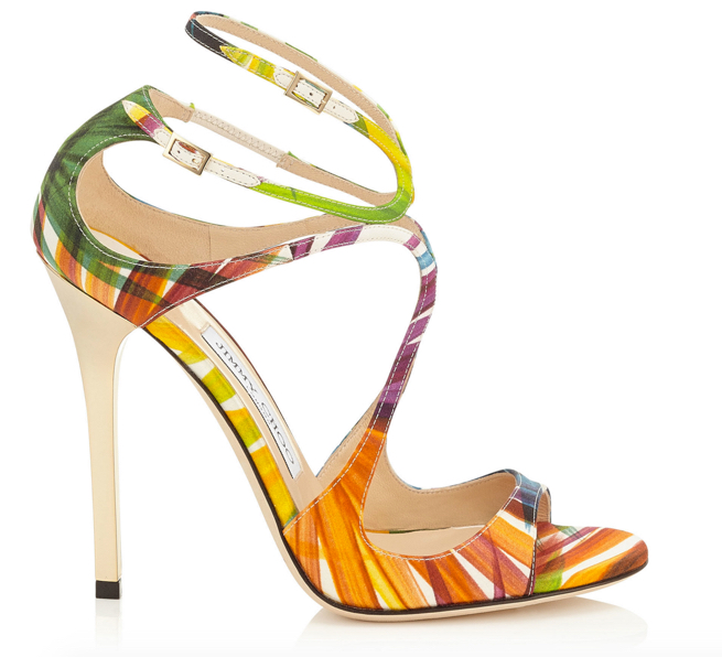 Jimmy Choo Lance Palm Print Satin Strappy Sandals