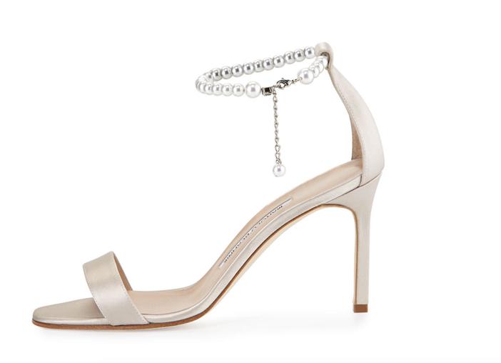 Manolo Blahnik Chaos Pearly Ankle-Wrap Sandal 2