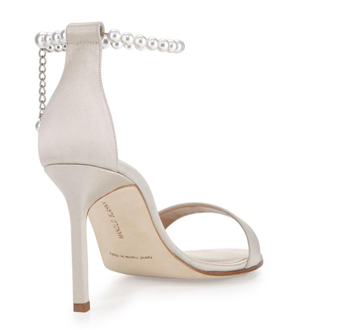 Manolo Blahnik Chaos Pearly Ankle-Wrap Sandal 3