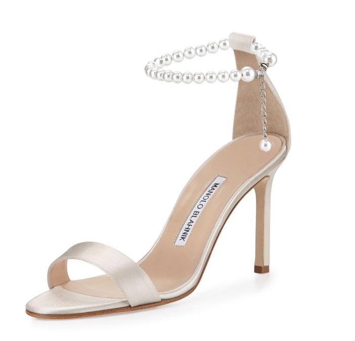 Manolo Blahnik Chaos Pearly Ankle-Wrap Sandal