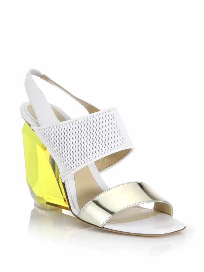 shoe of the day lhuillier peyton lucite wedge