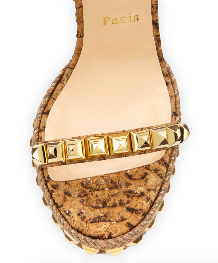 Christian Louboutin Cataclou Studded Cork Wedge Sandal 3