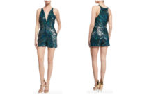 Haney Serena Plunging-Neck Sequined Romper