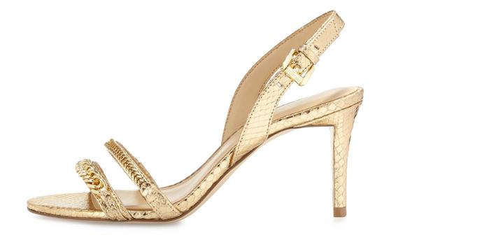 MICHAEL Michael Kors Jackie Chain-Link Mid-Heel Sandal 3