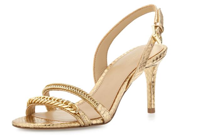 MICHAEL Michael Kors Jackie Chain-Link Mid-Heel Sandal
