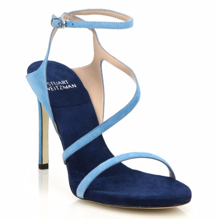 Stuart Weitzman Sultry Asymmetric Suede Sandals