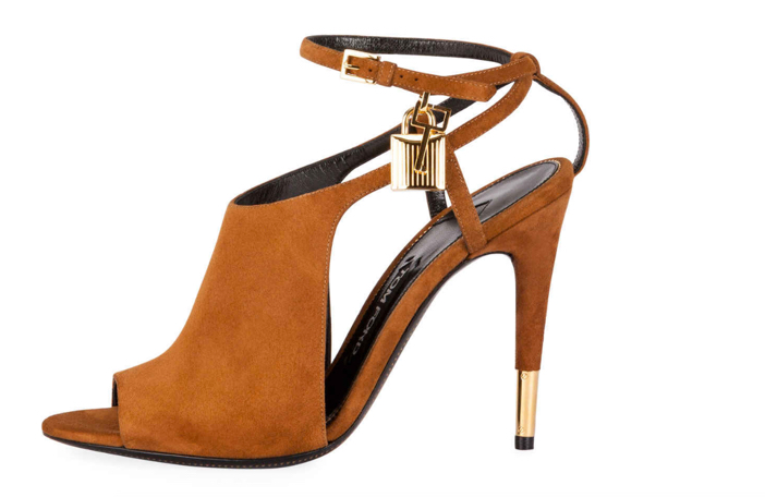 Tom Ford Lock Suede Open-Toe Ankle-Wrap Bootie 2