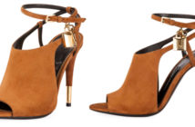 Tom Ford Lock Suede Open-Toe Ankle-Wrap Bootie 3