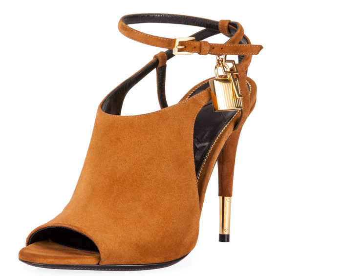 Tom Ford Lock Suede Open-Toe Ankle-Wrap Bootie
