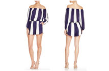 AQUA Bar Stripe Off-The-Shoulder Romper 3