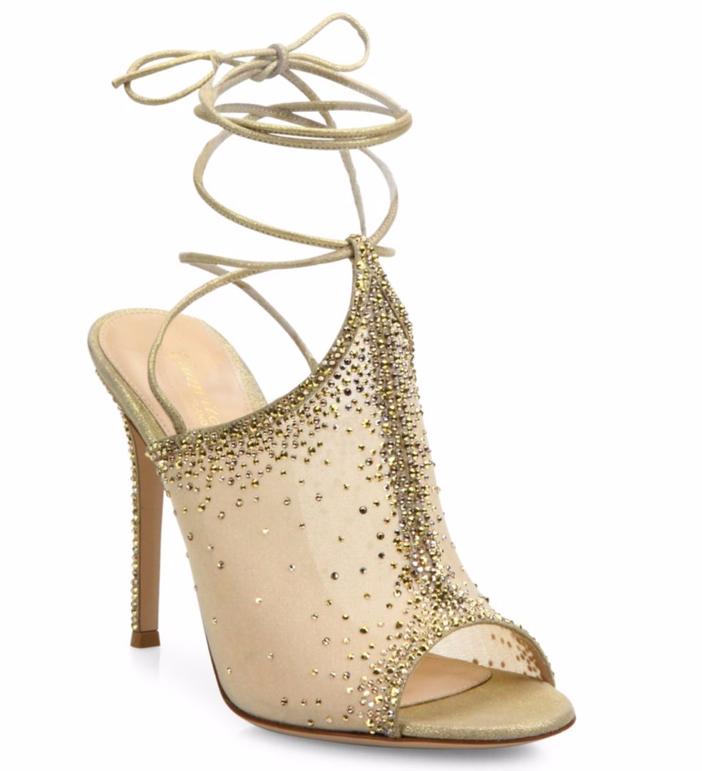 Gianvito Rossi Etoile Mesh & Crystal Mule Sandals