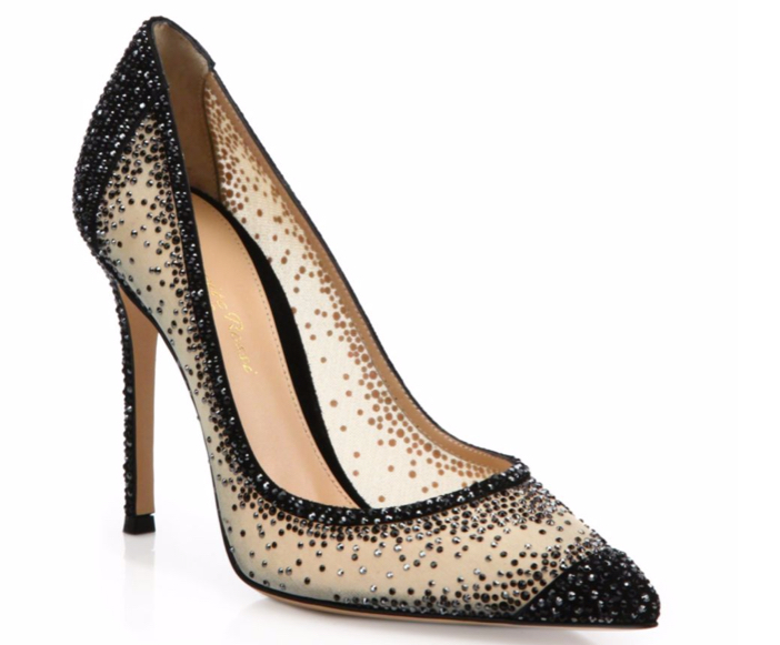 Gianvito Rossi Mesh & Crystal Point-Toe Pumps 3