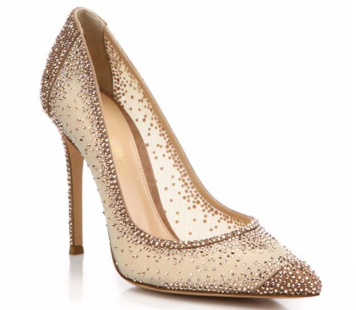 Gianvito Rossi Mesh & Crystal Point-Toe Pumps