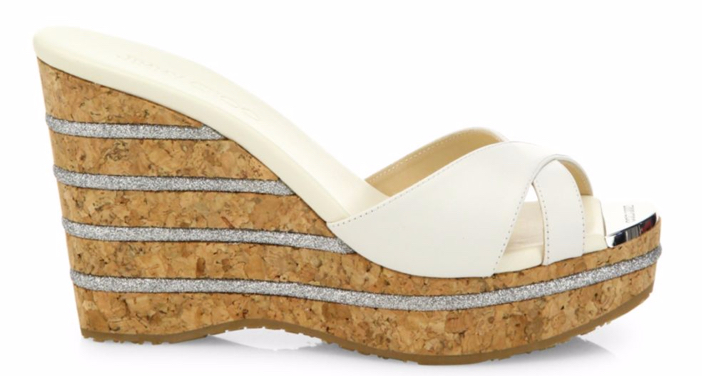Jimmy Choo Perfume 120 Leather Cork Wedge Slides 2