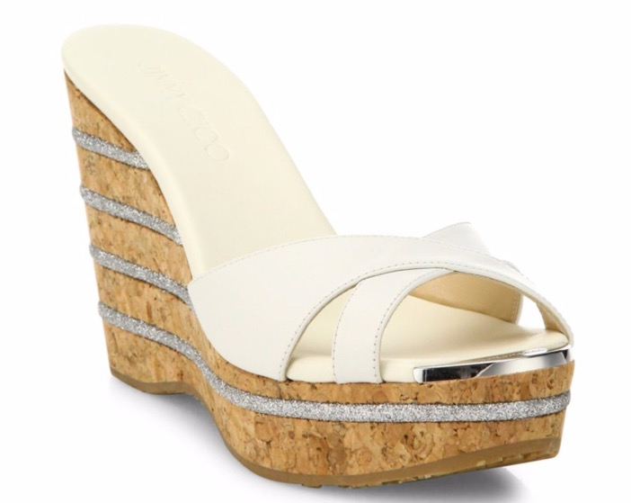 Jimmy Choo Perfume 120 Leather Cork Wedge Slides