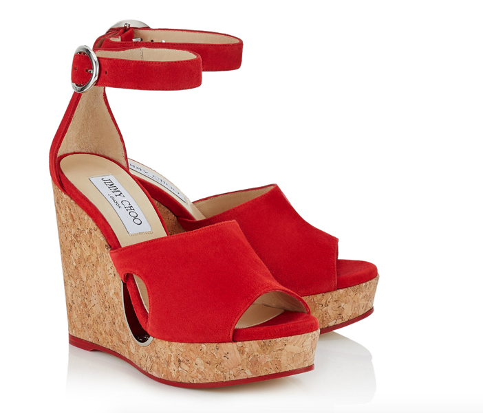 Jimmy Choo Red Suede Cork Wedges with Cut-out 2