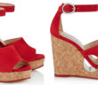 Jimmy Choo Red Suede Cork Wedges with Cut-out 4